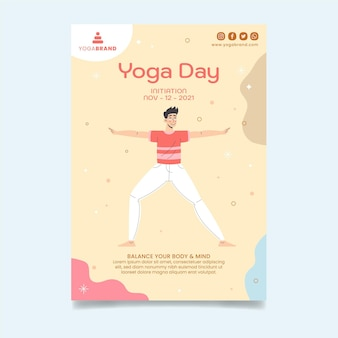 Yoga day vertical flyer template