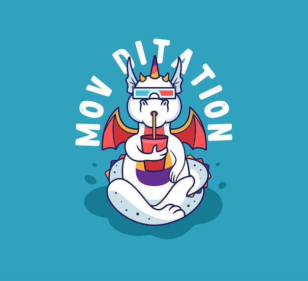 The yoga dragon is watching a movie, drinking. rainbow unicorn-monster with a lettering phrase - movie meditation.