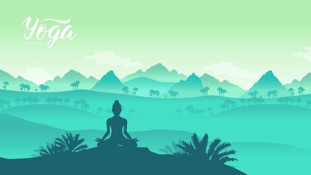 Йога-упражнения на вершине гор в окружении природы. здоровый образ жизни для прекрасного.