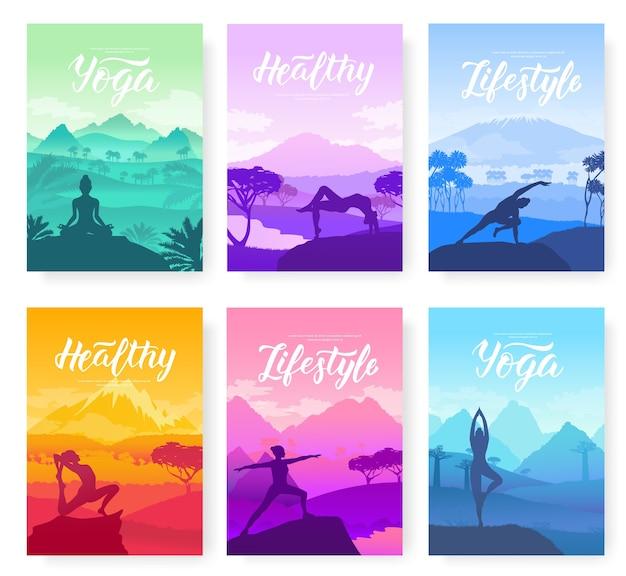 자연으로 둘러싸인 산 정상에서 요가 운동. 포스터, 잡지,