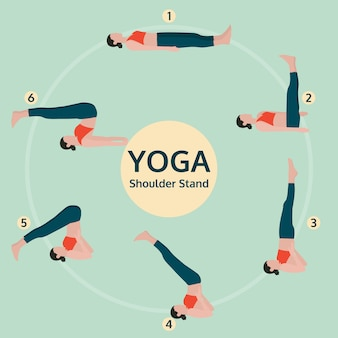 Yoga exercise poses illustration