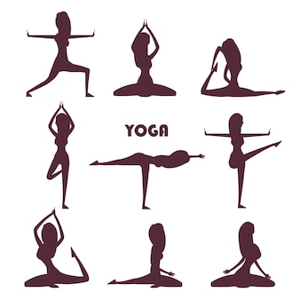 Yoga exercises and meditation female silhouettes