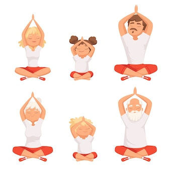 Yoga family. parents and kids making exercises of yoga and meditation pose buddhism elderly male and female pictures. family doing yoga, grandfather and grandmother meditate illlustration