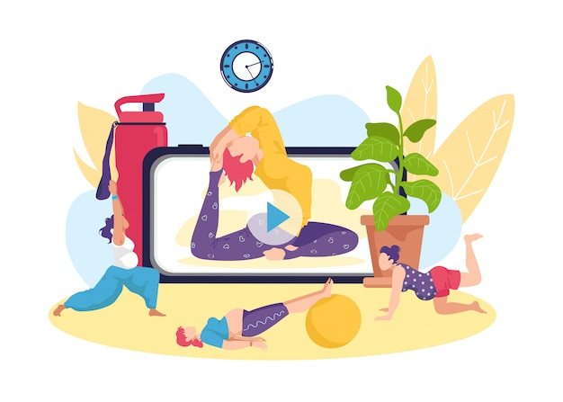임신 한 여성을위한 요가 피트니스 운동, 온라인 건강 활동 그림. 스포츠 훈련 라이프 스타일, 어머니 산전 운동으로 임신 건강. 출산 개념.
