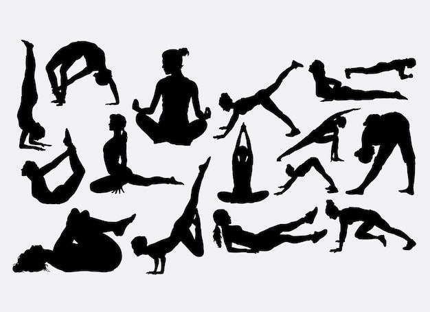 Yoga and fitness sport silhouette