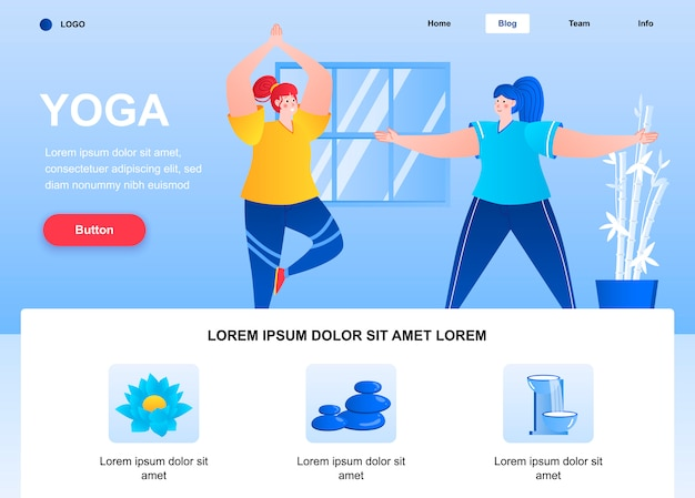 Yoga flat landing page. young women practicing yoga asanas web page.