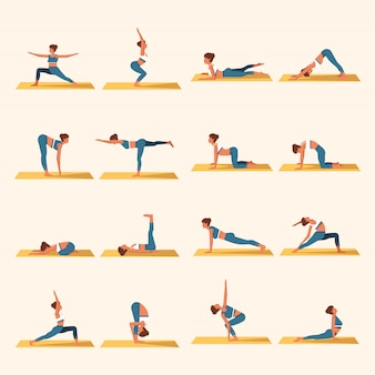 Yoga flat vector template