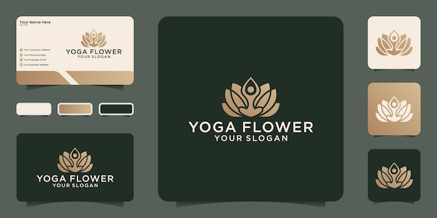 Yoga flower logo design template and business card