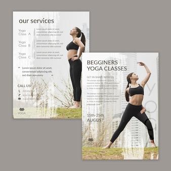 Шаблон флаера йоги с фото