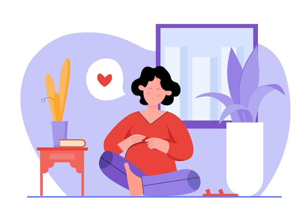 妊娠中の女性のイラストのためのヨガ