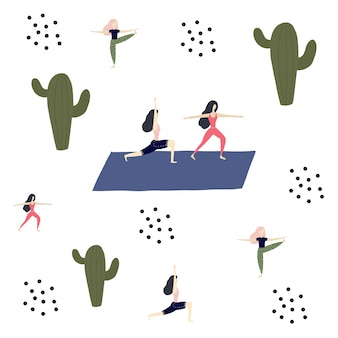 Йога девушка, кактусы и спокойствие