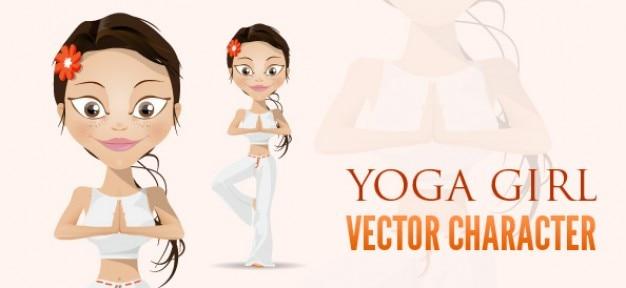 Yoga girl vector character