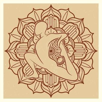 Yoga grunge oriental flower mandala with asana silhouette