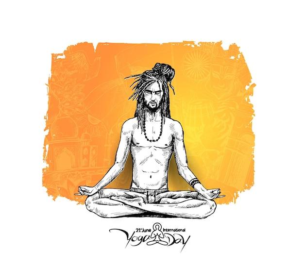 Yoga guru baba looking for inner peace. hand draw sketch vector illustration.
