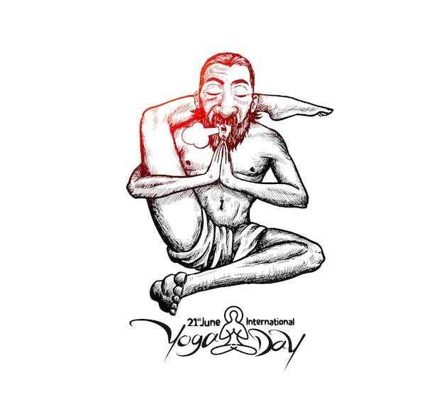 ヨガの達人ババヨガポーズ、6月21日国際ヨガデー。手描きスケッチベクトルイラスト。
