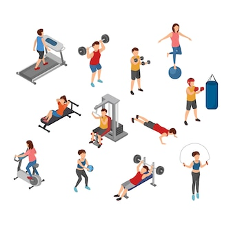 Yoga and gym isometric illustration