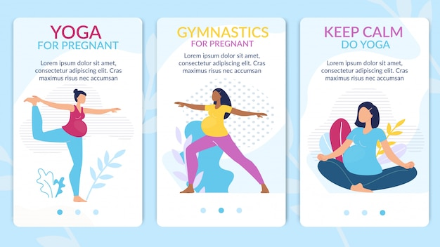 Yoga, gymnastics for pregnant webpage set