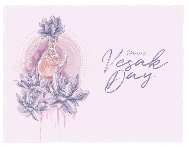 Yoga hand with lotus flowers in watercolor style illustration