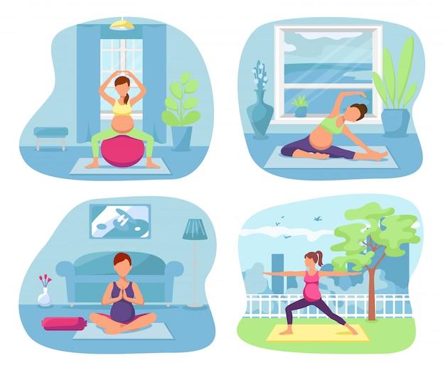 요가 건강 한 임산부 그림입니다. 집에서 임신 운동 라이프 스타일, 여성 피트니스. 어머니 포즈 평면 휴식