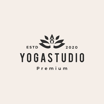 Yoga hipster vintage logo icon illustration