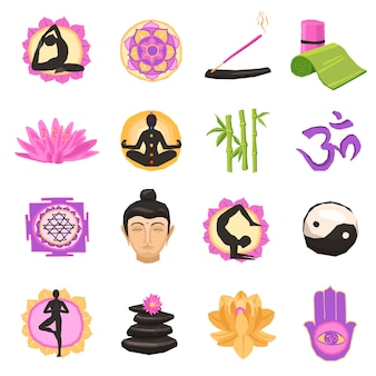Yoga icons set