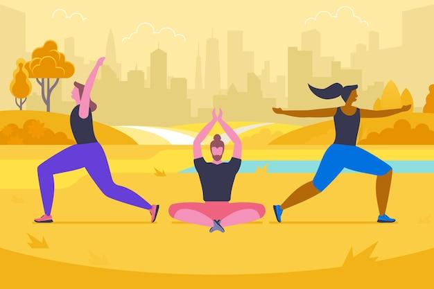 秋の公園のフラットベクトルイラストでヨガ。スポーツウェアの漫画のキャラクターの幸せな人々。異なるポーズの若い男性と女性。新鮮な空気の運動、健康的なライフスタイル、屋外ピラティスクラス