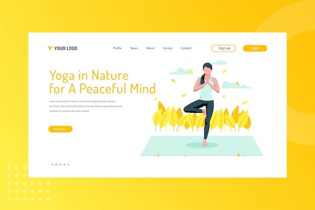ランディングページの平和な心のイラストのための自然の中でのヨガ