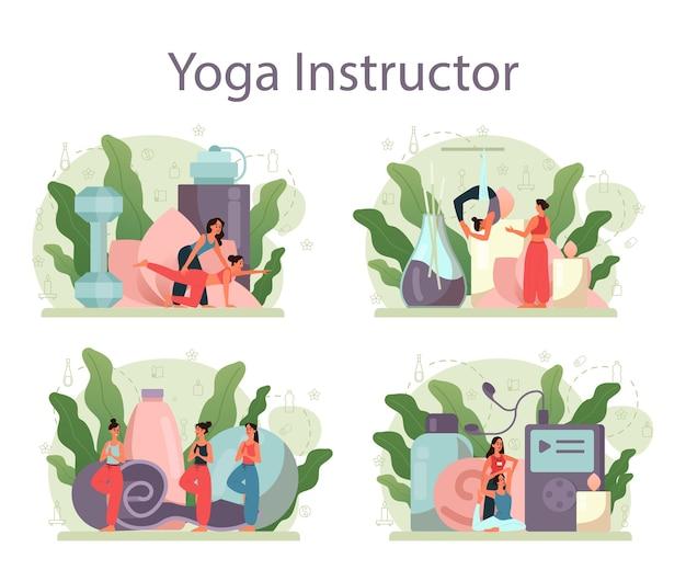 Набор концепции инструктор йоги. асана или упражнение для мужчин и женщин. физическое и психическое здоровье. расслабление тела и медитация на улице.