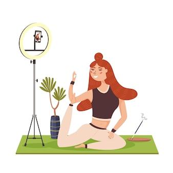 ヨガインストラクターがオンライントレーニングストリームをリードしています。ヨガインストラクターの放送は電話で生放送されます。健康的なライフスタイルのための体操。ヨガマットエクササイズ。現代ベクトルフラットイラスト