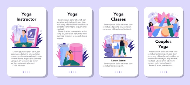 Инструктор по йоге мобильное приложение баннер набор асан или упражнений