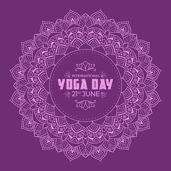 Yoga international day with violet calm design