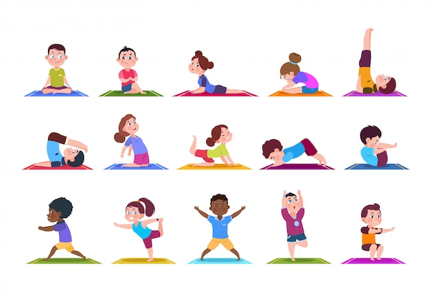Yoga kids. cartoon children doing yoga. sporting girls and boys in gym. characters isolated set