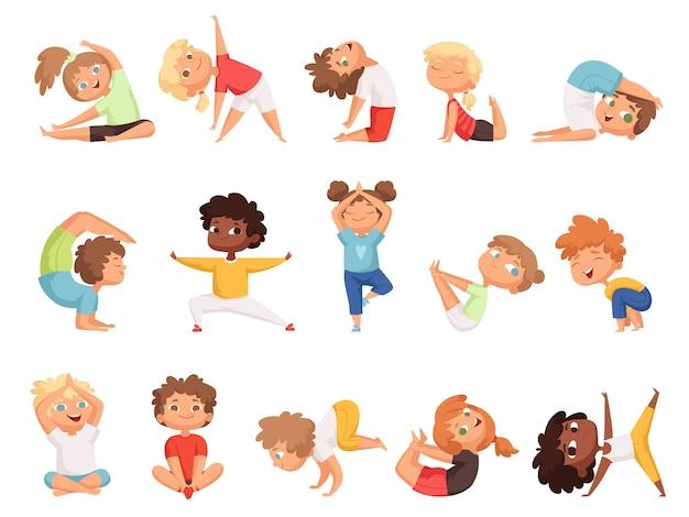 요가 애들. 다른 포즈에서 운동을하는 어린이 건강한 스포츠 만화 캐릭터. 요가 운동 소년과 소녀 포즈 그림