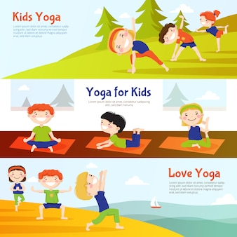 Yoga for kids horizontal banners set with children practicing asana poses outdoor
