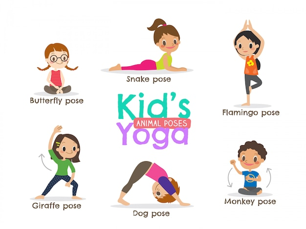 Yoga kids poses vector illustration