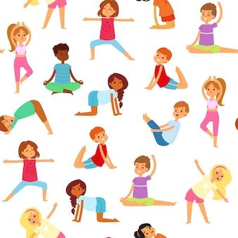 요가 아이 원활한 패턴, 소녀와 소년은 스포츠, 건강 피트니스, 일러스트, 화이트를합니다. 활동적인 라이프 스타일, 귀엽고 행복한 아이들을위한 체조, 운동.