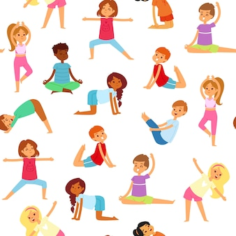 Yoga kids seamless pattern, girls and boys do sports, healthy fitness,     illustration,  on white. active lifestyle, gymnastics for cute, happy children, workout.