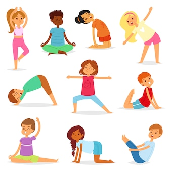 Yoga kids vector young child yogi character training sport exercise illustration healthy lifestyle set of cartoon boys and girls wellness activity of stretching meditation isolated