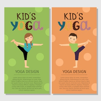 Yoga kids vertical flyer template design