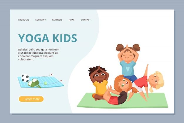 Йога kigs персонажей. шаблон целевой страницы для детского спорта и занятий йогой