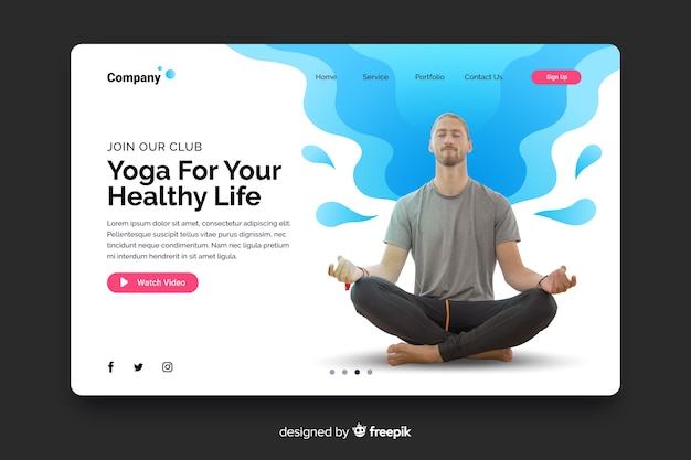 Yoga landing page with photo and liquid shapes