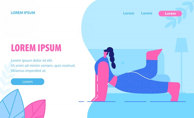 Yoga lessons flat landing page template.