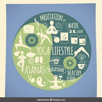 Yoga lifestyle icons Free Vector