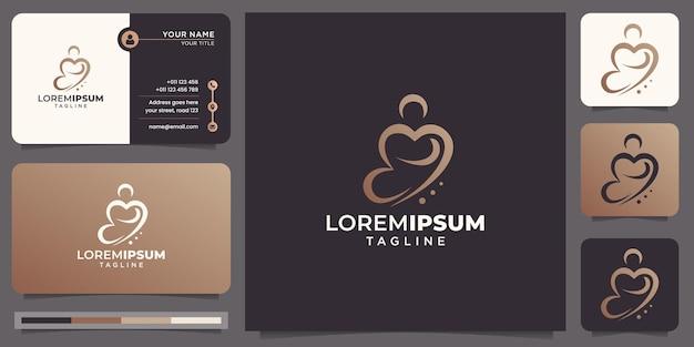 Стиль линии шаблона абстрактного дизайна логотипа йоги. логотип гармонии медитации здоровья и визитная карточка.