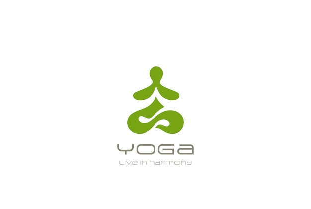 Yoga logo abstract man sitting lotus pose design template negative space style. spa meditation zen buddhism gymnastics harmony logotype concept icon