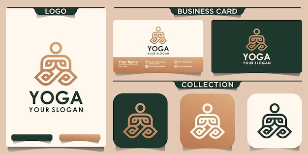 Yoga logo and business card in linear style.