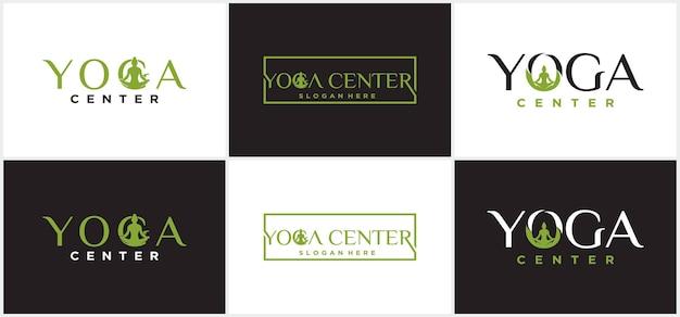 Yoga logo design man meditation in tree yoga logo design template.