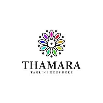 Дизайн логотипа йоги с символом орнамента цветок лотоса