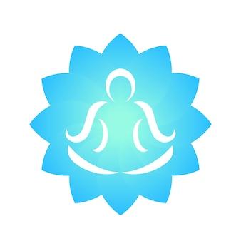 Элемент логотипа йоги, контур человека, медитирующего над цветком лотоса
