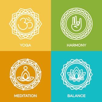 Эмблемы логотипа йоги, установленные для вашего центра йоги, студии йоги, урока горячей йоги и медитации. здравоохранение, спорт, фитнес логотип